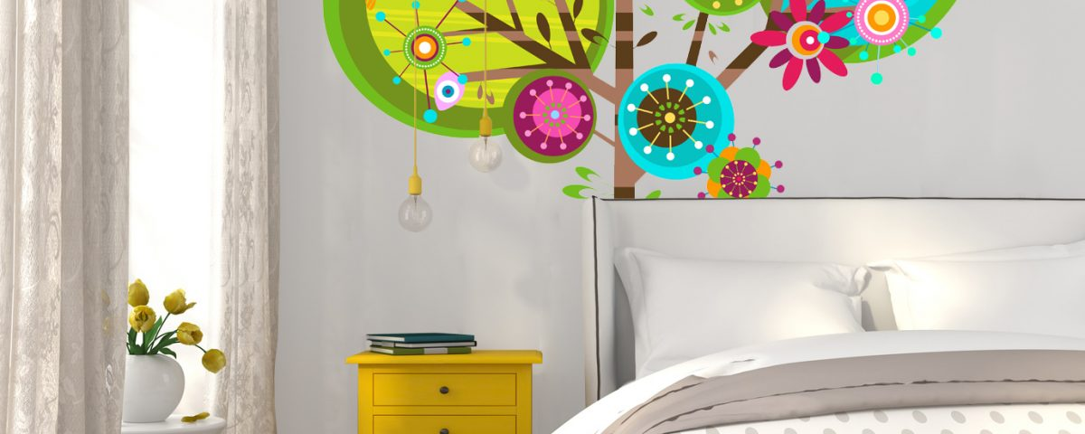 Fototapeta Light bedroom with yellow bedside table